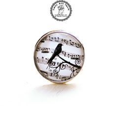 Music Note Ring - Bird Ring - Music Jewelry - Bird Jewelry - Music Lover Gift - Musician Gift - Bird Lover Gift - Adjustable Ring