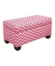 Candy Pink Zigzag Storage Bench