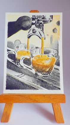 Aceo, 2 cups of espresso coffee by the coffee Machine,Original watercolour,Derwent pencils,Ink Drawing,NOT a Print,Coffee Art