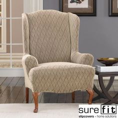 Stretch Braid Camel Wing Chair Slipcover | Overstock.com Shopping - Big Discounts on Sure Fit Recliner & Wing Chair Slipcovers
