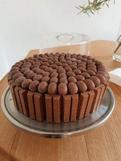 Chocolate cake with kit kat border and chocolate easter eggs