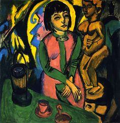 Sitzende Frau mit Holzplastik , 1912 , by Ernst Ludwig Kirchner