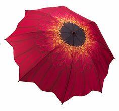 Red Daisy Floral Stick Umbrella
