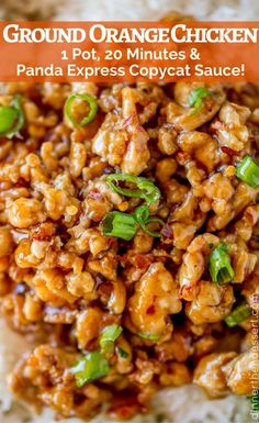 We LOVED this ground orange chicken, full of Panda Express Orange Chicken sauce . We LOVED this ground orange chicken, full of Panda Express Orange Chicken sauce and in just 1 pan and 20 minutes! Asian Recipes, Healthy Recipes, Healthy Ground Chicken Recipes, Minced Chicken Recipes, Healthy Orange Chicken, Chicken Rice Recipes, Chicken Mushroom Recipes, Advocare Recipes, Potato Recipes