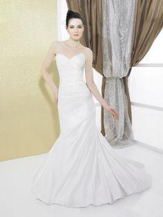 A-Line Sweetheart Neckline Strapless with Ruffles Lace up Taffeta Wedding Dress