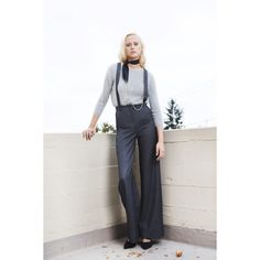 Pants with Suspenders ($165) ❤ liked on Polyvore featuring pants, stretchy pants, white trousers, white stretch pants, stretch trousers and white stretchy pants