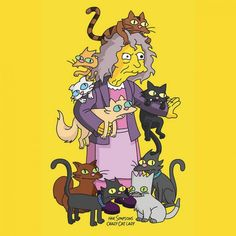 Make Simpsons Crazy Cat Lady Costume - Die Simpsons - Tattoo Simpsons Tattoo, Simpsons Drawings, Simpsons Simpsons, Simpsons Frases, Pop Art Kostüm, Crazy Cat Lady Costume, Los Simsons, Simpson Wallpaper Iphone, Animation
