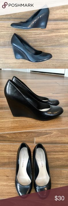 Franco Sarto Black Leather Wedges Franco Sarto Black Leather Wedges • 3 inch heel • Super comfy and in great shape. Perfect for office wear! Franco Sarto Shoes Wedges