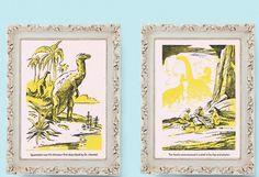 "DINOSAURS Pair of Vintage Childrens Book Illustrations 9""x6.75"". $7.75, via Etsy."