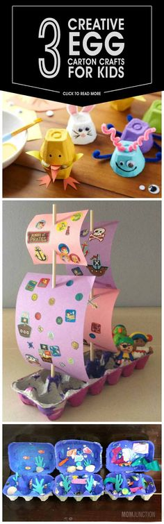 Have you only been using color papers or charts to create beautiful crafts, right? How about using empty egg cartons instead? Check 3 fun egg carton crafts here Toddler Crafts, Diy Crafts For Kids, Projects For Kids, Craft Projects, Kindergarten Crafts, Classroom Crafts, Preschool Crafts, Craft Activities, Toddler Activities