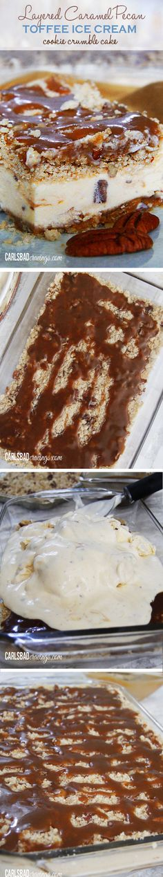 Layered Caramel Pecan Toffee Ice Cream Cookie Crumble Cake – long title, but thi… Layered Caramel Pecan Toffee Ice Cream Cookie Crumble Cake – long title, but this dessert is a cinch! All my FAVORITE treats in one cake! Ice Cream Treats, Ice Cream Cookies, Ice Cream Desserts, Frozen Desserts, Ice Cream Recipes, Sweet Desserts, Just Desserts, Sweet Recipes, Delicious Desserts