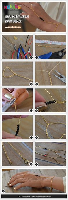 diy hand chain with beads Diy Jewelry Rings, Handmade Wire Jewelry, Hand Jewelry, Diy Jewelry Making, Body Jewelry, Jewelry Crafts, Jewelery, Diy Schmuck, Schmuck Design