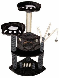 Features:  -Easy to assemble with step by step instruction and tools included.  -Bottom post can turn.  -Top and bottom post covered by natural sisal rope.  -Hanging balls.  -Color: Black.  Color: -Bl