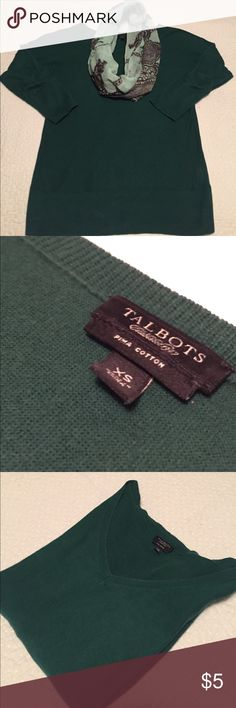 Talbots green sweater This is a light weight sweater that is perfect for Spring or Fall. No stains. Some wear from washing that is expected but overall good condition. It's on the long/fitted side which I like. Easy to style up or down. Add a statement necklace of scarf. Talbots Tops Blouses