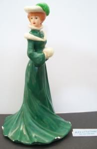 lady wearing green dress figurine, vintage lady figurine by ALEXLITTLETHINGS