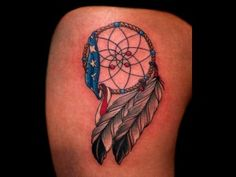 What is a Custom Tattoo? Native American Dreamcatcher Tattoo With Flag