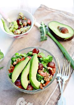 Broccoli salad loaded with bacon and cheddar is delicious, but can leave you feeling like you just swallowed a watermelon. This revamped version, which just so happens to be vegetarian, has you combine the florets (they're crisp-tender, since you just steam them for two minutes) with sweet, red grapes and creamy, honey-mustard-yogurt dressing.