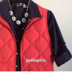"J Crew excursion Vest Great puffer vest, color is called ""bohemian red"" which I would describe as a bright coral-red.   ~CONDITION: Very Good   No Trades ✅ Use Offer Button J. Crew Jackets & Coats Vests"