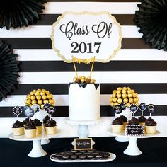 Make it Bold! Make it Black and Gold! Stunning Graduation Party set up for UNDER $100.