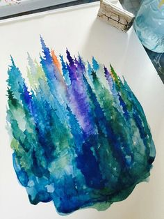 Twilight Pines Watercolor Art Print 8x10 pine by stubborndog