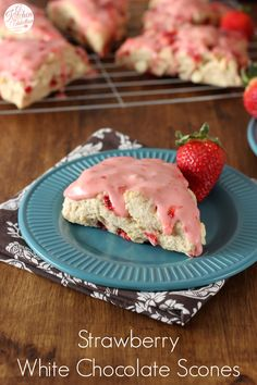 Strawberry White Chocolate Scones - A Kitchen Addiction Just Desserts, Delicious Desserts, Dessert Recipes, Yummy Food, Fruit Recipes, Strawberry Recipes, How Sweet Eats, Sweet Bread, Baking Recipes