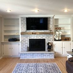 Hand Hewn Fireplace Mantel 87 x x 6 Built In Around Fireplace, Home Fireplace, Fireplace Mantels, Bookshelves Around Fireplace, Bookshelves Built In, Fireplace Design, Brick Fireplace Makeover, Living Room Remodel, White Wash Brick Fireplace