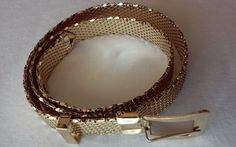 1970  Vintage Disco Classy Gold Mesh Belt Stamped by Whiting & Davis Co.  #WhitingDavisCoMeshBag #ClubwearCocktailBusiness
