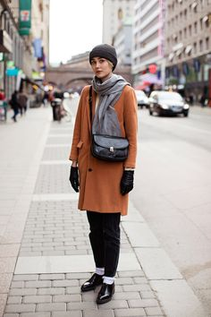 camel coat, black trousers @roressclothes closet ideas #women fashion outfit #clothing style apparel
