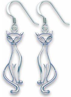 3D Playful Swinging Kitty Cat .925 Sterling Silver Earrings Jewelry | Amazon.com