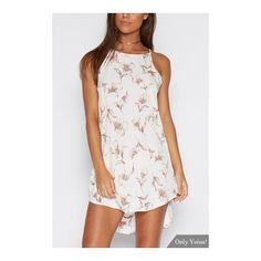 Random Floral Print Irregular Hem Mini Dress (35 AED) via Polyvore featuring dresses