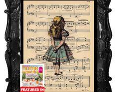 ALICE In WONDERLAND-Vintage Kunstdruck auf Antik Musiknoten Page Alice im Wunderland Upcycled recycelt Kunstdruck