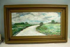 C Peterson ORIGINAL ART oil PAINTING Landscape Old Farm Road trees Poland FRAMED #moderncontemporaryartinterpretiveimpressionist