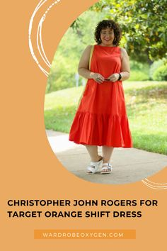 Christopher John Rogers for Target Orange Shift Dress! I reviewed so many new styles from Target and this dress happens to be one that I am actually keeping! Check out my latest blog post for the full review and honest reason I chose to keep this dress despite everything wrong with it. Petite Fashion, Plus Size Fashion, What I Wore, What To Wear, Size 14 Women, Orange You Glad, Grown Women, Orange Fashion, Orange Dress