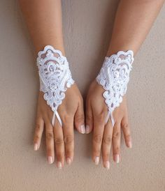 white lace gloves free ship french lace bridal by WEDDINGHome, $30.00