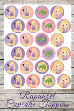 DIY Printable Disney Tangled Rapunzel Cupcake Toppers, Girls Birthday Party Supplies, Princess Party Cupcake Toppers