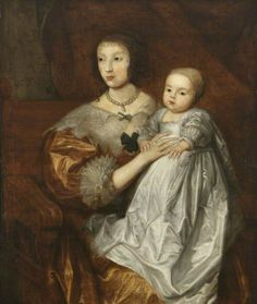 Queen Henrietta-Maria of England with her son, the future King Charles II.