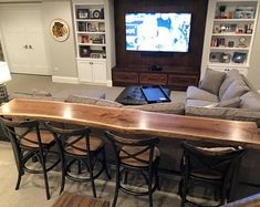 Sofa Table Home Bar Top Table Live Edge Bar Table Black Walnut
