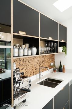 Fenix faced plywood kitchen using IKEA base units . Fenix faced plywood kitchen using IKEA base units with Plykea doors and drawer fronts – www. Home Kitchens, Kitchen Design, Kitchen Diner, Kitchen Flooring, Modern Kitchen, Plywood Kitchen, New Kitchen, Kitchen Units, Kitchen Interior