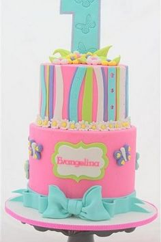 1st Birthday Cake Ideas for Girls blue and pink 2 tier