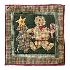 Gingerbread Family Cotton Throw Pillow