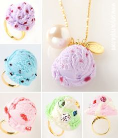 Ice cream kawaii! Adorable little ice cream scoop jewelry! :>