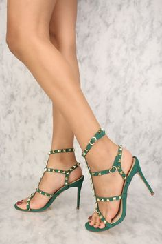 d675fbb63f98 Sexy Emerald Studded Open Toe Strappy High Heels Faux Suede