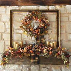 mirror and fall wreath on mantel - Google Search