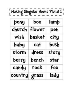 This sort is comprised of 48 word cards (2 sorts) that are singular nouns.  The work mat is divided up into 3 columns- add -s, add -es, or change t...