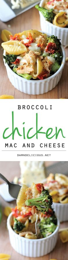 Broccoli Chicken Mac and Cheese - This lightened-up mac and cheese is a sure way to get even the pickiest of eaters to eat their veggies! I love cooking and making different varieties of dishes Pasta Recipes, Chicken Recipes, Cooking Recipes, Healthy Recipes, Recipes Dinner, Potato Recipes, Casserole Recipes, Chicken Mac And Cheese Recipe, Crockpot Recipes