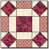 """Broken Wheel -- like Thimble Blossoms' Puddle Jumping ?  Make as 16"""" block with 4-patch middle."""