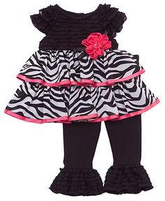 Rare Editions Baby Set, Baby Girls Ruffle Zebra Tunic and Leggings - Kids Baby Girl (0-24 months) - Macy's