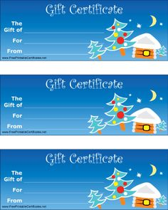 A set of three identical gift certificates on one sheet with a Christmas tree theme, to be used by a retailer or any giver. Free to download and print