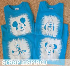 Use a reverse technique of a Freezer Paper Stencil T Shirt to create Disney shirts of favorite characters. By Monica at Scrap Inspired