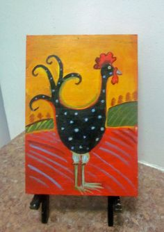 Lucky Rooster Folk art for kitchen. Original by DarlingRomeo